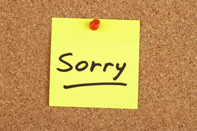 Use `Sorry' Only when you Mean it