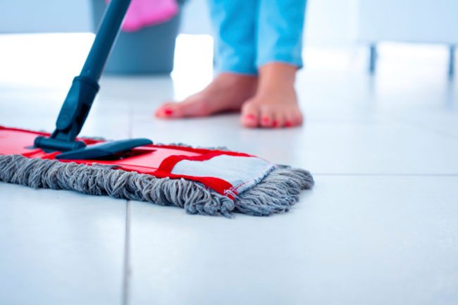 Clean the Floor with Damp Cloth