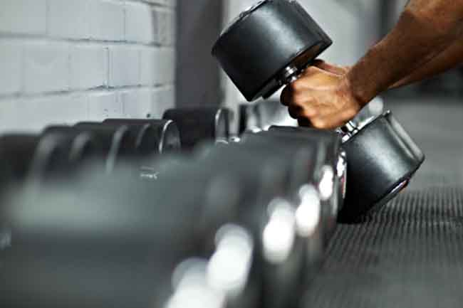Train biceps with weights