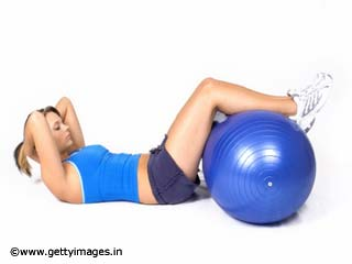 Exercises For Women - Medicine Ball Intermediate Crunch