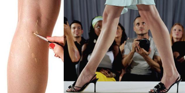 Applying concealer on legs