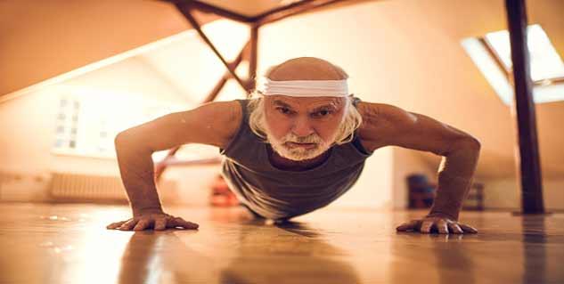 old man exercising in hindi