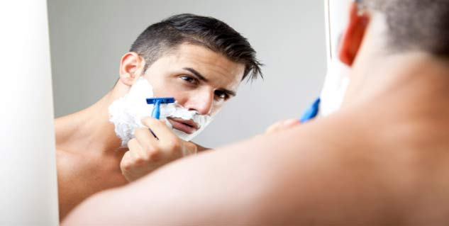 man shaving in hindi