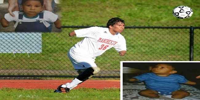 मजबूत इच्छाशक्ति ने बिना हाथ-पैर के बनाया फुटबॉलर