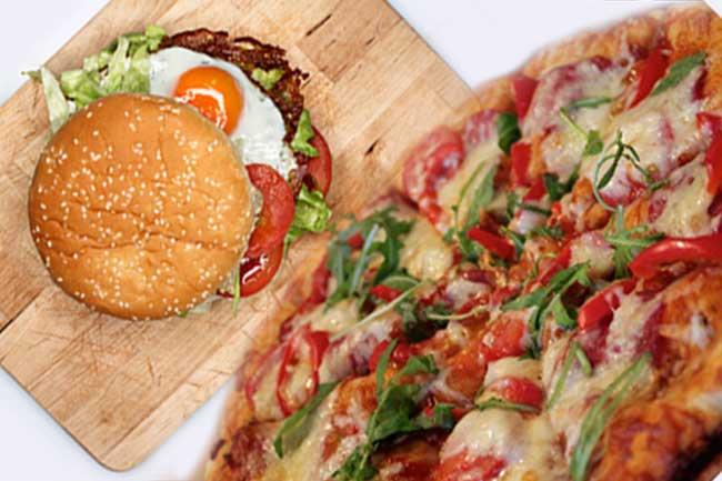 पिज्जा और चीज बर्गर