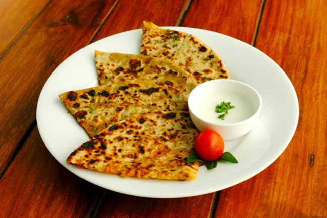 Plain Parathas with Curd