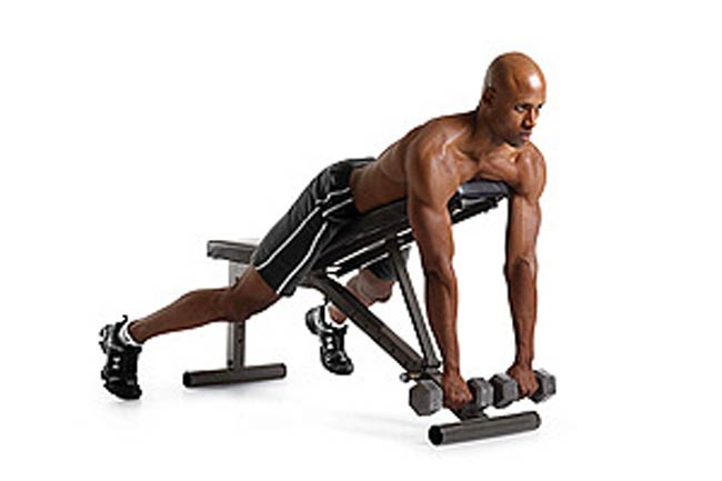 1 A. Lying Supported Neutral-Grip Dumbbell Row