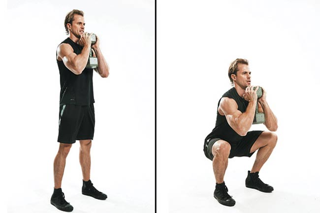 1 B. Dumbbell Goblet Box Squat