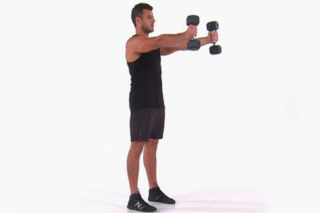 2 B. Dumbbell Skier Swings