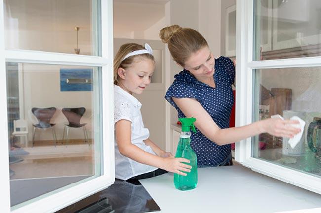 खिड़कियों और शीशे को साफ रखें
