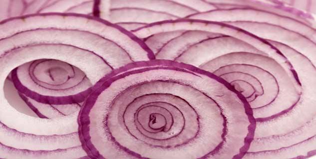Onion slices in socks