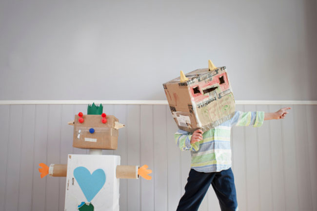 Make cardboard boxes into art projects
