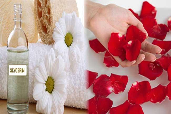 गुलाब जल व ग्लिसरीन का मिश्रण