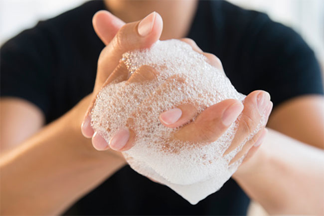 Washing hands with harsh soaps