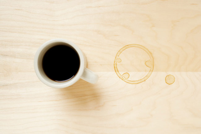 Get rid of coffee and tea stains on table