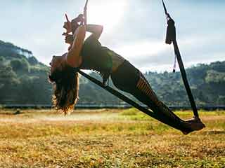 Aerial yoga for weight loss and healthy body