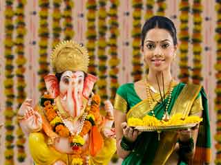 Worship Lord Ganesha with naivedyam