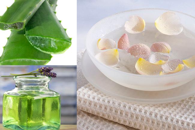Rosewater, aloe vera gel and lavender oil mask