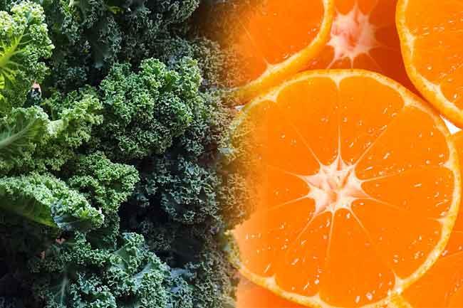 केल (आयरन) + संतरे (विटामिन सी)