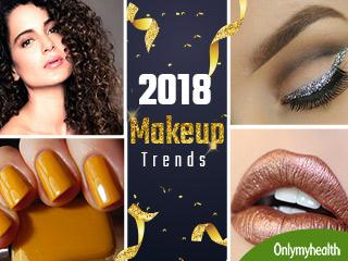 2018 के मेकअप ट्रेंड्स हैं गोल्ड लिपस्टिक और glitter आईलाइनर