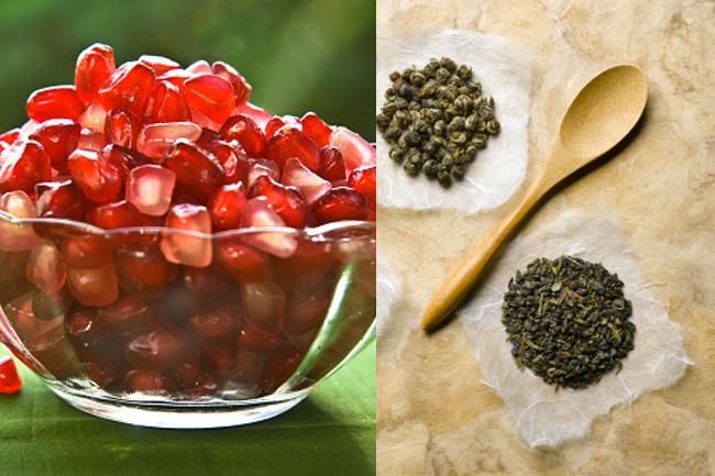 Pomegranate e chá verde