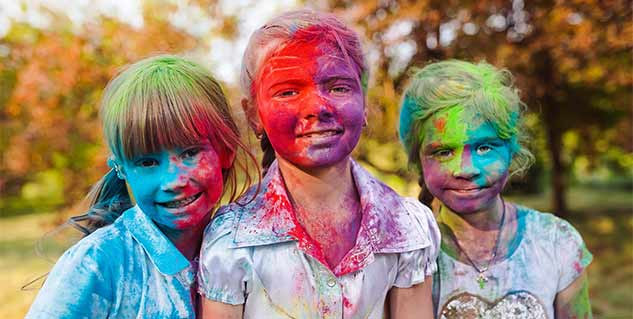 children in holi