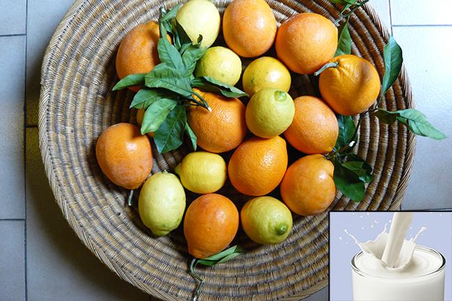 दूध के साथ संतरा, अंगूर, नींबू और लीची