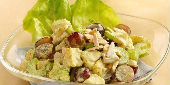 Learn how to make delicious curry chicken salad with grapes at home