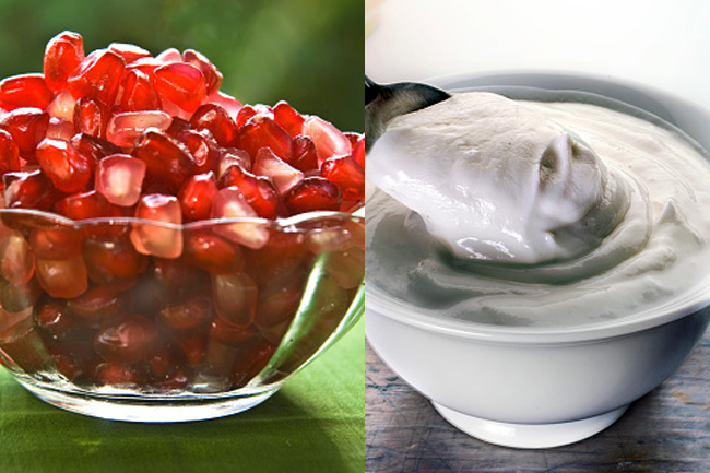 Pomegranate and yogurt facemask